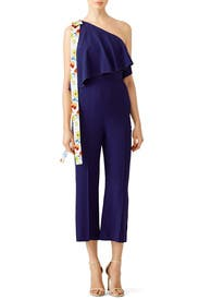 Blue Popover Ruffle Jumpsuit by MSGM