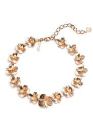 Gold Brushed Flower Necklace by Oscar de la Renta