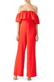 Red Delilah Jumpsuit by Amanda Uprichard