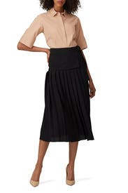 Side Tie Pleated Skirt by Victoria Victoria Beckham