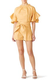 Orange Poplin Romper by Genny