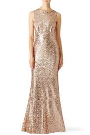 Blush Sequin Blouson Gown by Badgley Mischka