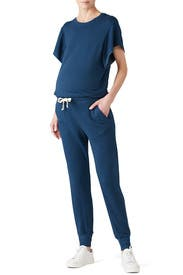Blue Short Sleeve Maternity Jumpsuit by MONROW