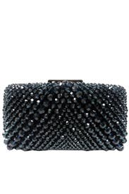 Navy Beaded Satin Minaudiere by Sondra Roberts
