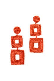 Coral Double Square Earrings by Kenneth Jay Lane
