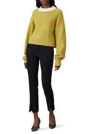 Cropped Crewneck Pullover by Tibi