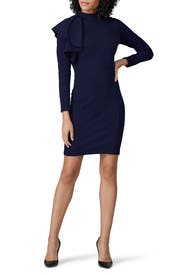 Navy Shoulder Ruffle Dress by Slate & Willow