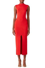 Red Front Slit Dress by Solace London
