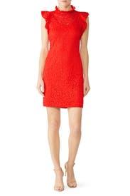 Fiery Red Lace Sheath by Alexia Admor