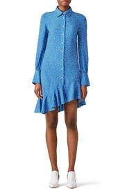 Blue Asymmetric Shirtdress by Derek Lam 10 Crosby