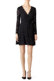 Black and Navy Shaelyn Wrap Dress by Diane von Furstenberg