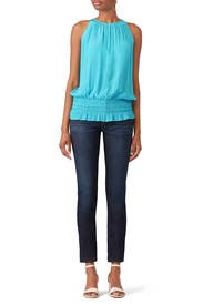Blue Sleeveless Lauren Top by Ramy Brook