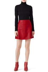 Red Leather Circle Skirt by VEDA