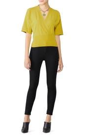 Yellow Short Sleeve Sweater by Fuzzi
