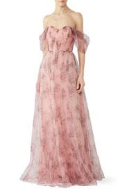 Blush Floral Tulle Gown by Marchesa Notte