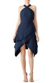 Navy Halter Asymmetrical Dress by Antonio Berardi