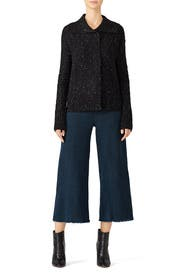 Black Cable Cardigan by Michael Stars