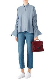Blue Button Up Shirt by Free People