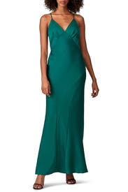 Green V-Neck Slip Gown by Harlyn