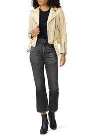 Pale Yellow Balfern Leather Jacket by AllSaints