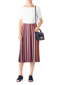 Ellis Striped Skirt by Tory Burch
