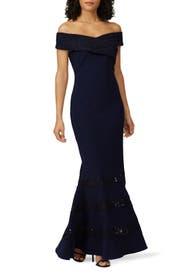 Navy Crossover Gown by Lauren Ralph Lauren