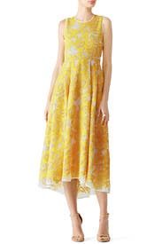 Yellow Abstract Stitch Dress by Hunter Bell