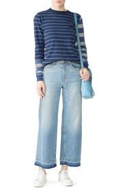Blue Striped Crew Neck Pullover by Derek Lam 10 Crosby