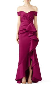 Sangria Ruffle Gown by Badgley Mischka