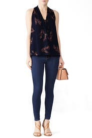 Midnight Floral Trapeze Top by Derek Lam 10 Crosby
