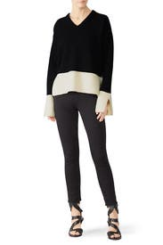 Contrast Rib V-Neck Sweater by Derek Lam 10 Crosby