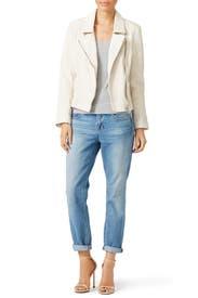 Cream Aviator Leather Jacket by BB Dakota
