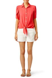 Coral Flutter Tie Button Down by Paper Crown