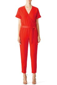 Red Wrap Jumpsuit by Trina Turk