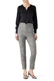 Black Combo Plaid Pants by Rebecca Taylor