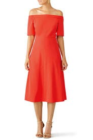 Vermillion Red Structured Crepe Dress by Tibi
