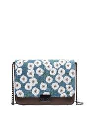 Nappa Woven Embroidered Lock Shoulder Bag by Loeffler Randall