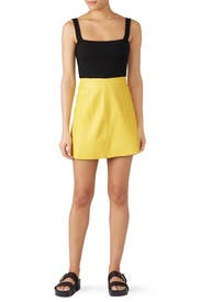 Yellow Leather Circle Skirt by VEDA