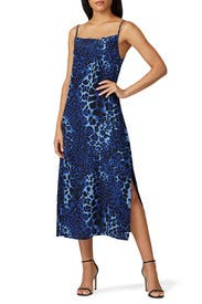 Blue Leopard Slip Maxi by Nightcap