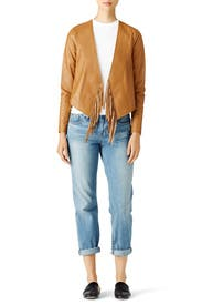 Toffee Fringe Leather Jacket by Derek Lam 10 Crosby
