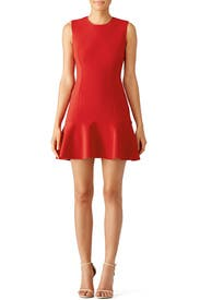 Red Tiered Ruffle Dress by Jason Wu Collection