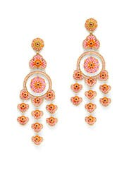 Pink and Orange Beaded Chandelier Earrings by Miguel Ases