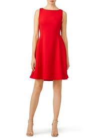 Red Open Neck Dress by Pink Tartan