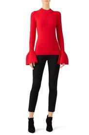 Red Flutter Pullover by Diane von Furstenberg