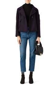 Navy Cropped Coat by Jil Sander Navy