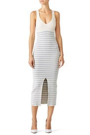 White Stripe Knit Dress by Opening Ceremony