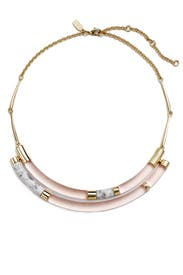 Rose Color Blocked Crescent Bib Necklace by Alexis Bittar
