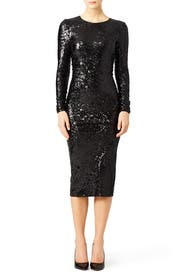 Black Ruched Sequin Dress by Donna Karan New York