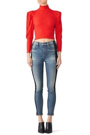 Red Lala Knit Crop Top by Free People