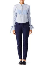 Striped Tie Sleeve Shirt by Tibi